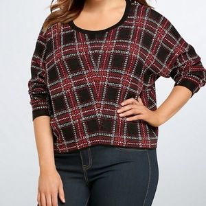 Torrid Red Black Plaid Cropped Sweater
